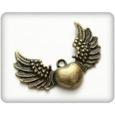 Μεταλλική καρδιά-φτερά 10 τμχ